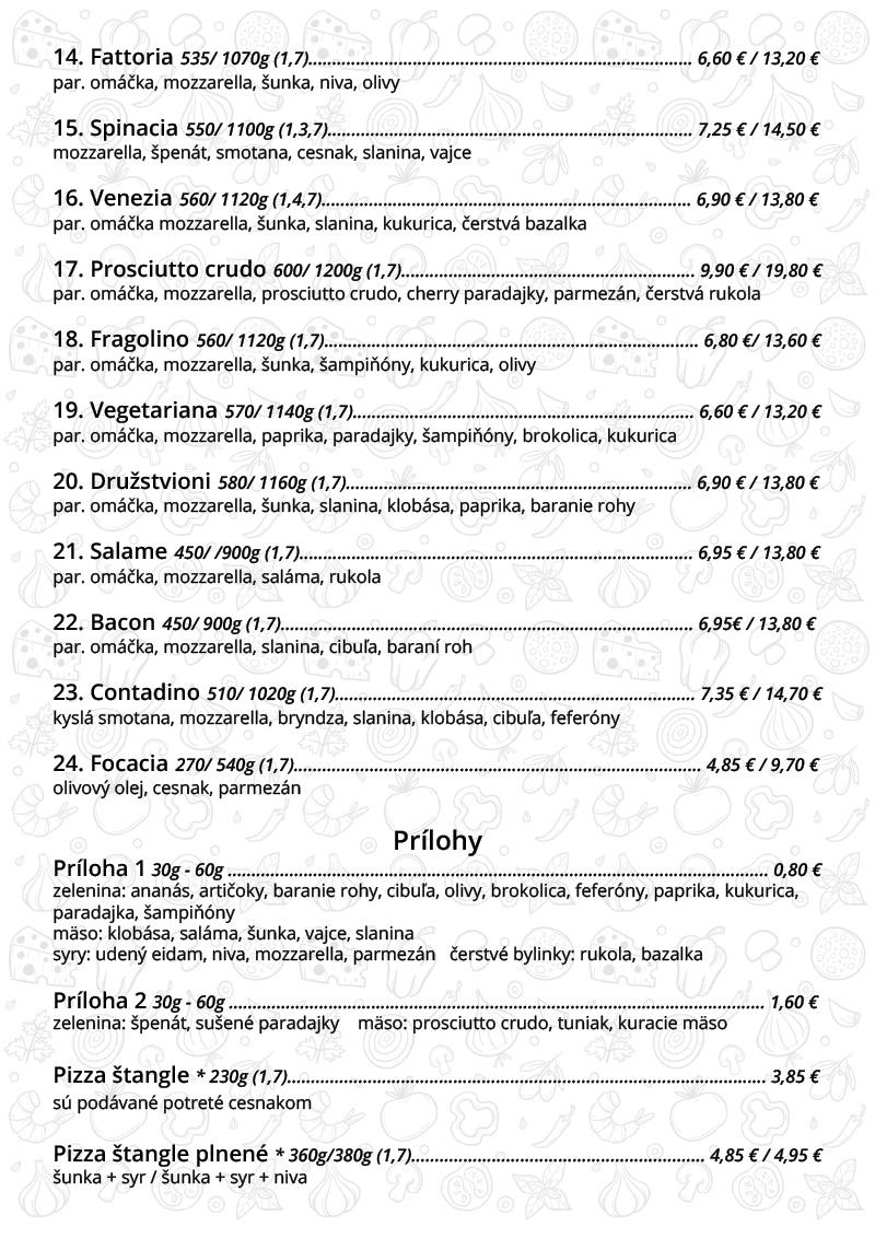 Fragolino pizza Bratislava - pizza menu - pizze.sk
